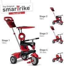 Driewieler 4 in 1 Smart Trike Vanilla Rood